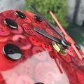 Tick Tock - Red Button Desktop Clock -  Resin Buttons Clock - silent motion
