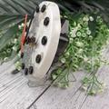 Desktop Clock - White Sliver Glitter Resin Buttons - silent motion - Tick Tock