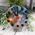 Desktop Clock - Galaxy Glitter Resin Buttons - silent motion - Tick Tock