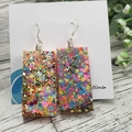 Sparkly Neon Glitter - Rectangle Hook Dangle earrings
