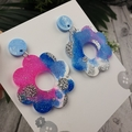 Cloudy Galaxy Flower Power Fluro Glitter Resin - Stud Dangle earrings