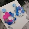 Cloudy Galaxy Flower Power Fluro Glitter Resin - Stud Dangle earrings