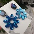 Teal Flower Power Glitter Resin - Stud Dangle earrings