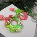 Melon Flower Power Fluro Glitter Resin - Stud Dangle earrings