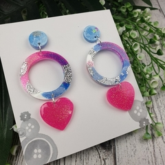 Never ending Heart Glitter Resin - Stud Dangle earrings