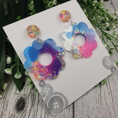 Sherbet Fizz Flower Power Fluro Glitter Resin - Stud Dangle earrings