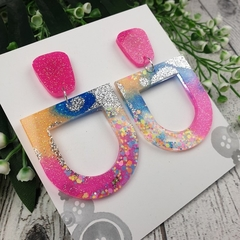 Sherbet U Drop Glitter Resin - Stud Dangle earrings