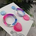 Never ending Heart Glitter Resin - Stud Dangle earrings