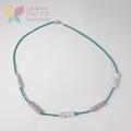 Paper Bead Aqua Necklace