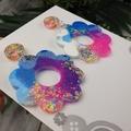 Sherbet Fizz Flower Power Fluro Glitter Resin - Stud Dangle earrings