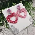 Exclamation Heart Glitter Resin - Stud Dangle earrings