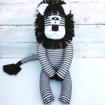 'Lando' the Sock Lion - black and white stripes - *READY TO POST*