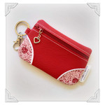 Vinyl coin purse keychain, with heart zipper pull