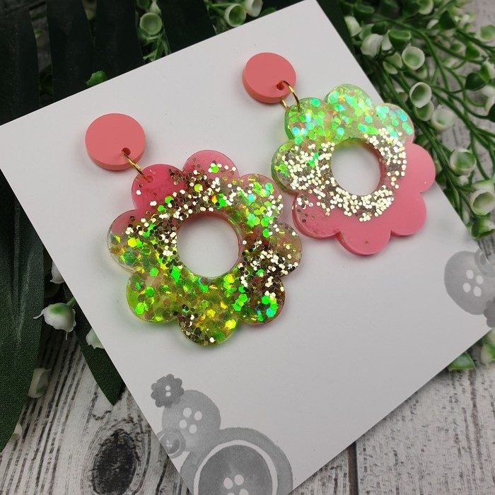 Melon Flower Power Fluro Glitter Resin - Stud Dangle earrings