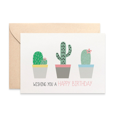 Women's Birthday Card, Cactus Cacti in Pots, HBF150