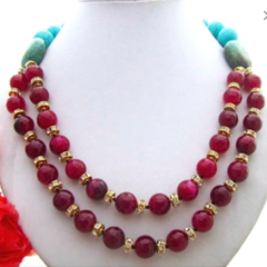 Genuine Red AGATE, Blue and Green TURQUOISE, 2 Strands Necklace (non-metal).