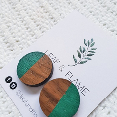 Round wooden earrings in green