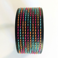 Black Stitched Bracelet Cuff