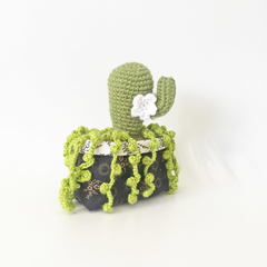 Crochet Cactus and Succulent Arrangement in Fabric Basket