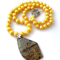 Natural JASPER Pendant on Golden-Yellow Freshwater PEARLS Necklace.