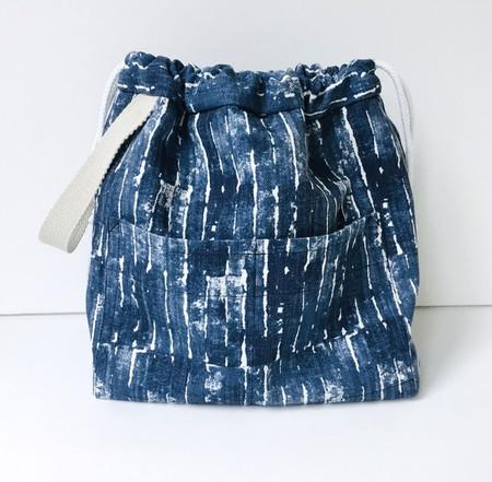 Shibori drawstring craft/knitting/travel bag with pockets.