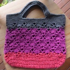Crochet Tote Bag - Grey, Plum & Raspberry