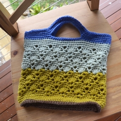 Crochet Tote Bag - Blue, Grey, Mustard & Chocolate