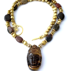 TIGER'S EYE BUDDHA Pendant on JASPER and Pearls, ZEN Necklace and Bracelet.