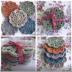 Handmade crocheted coasters - Set of 5