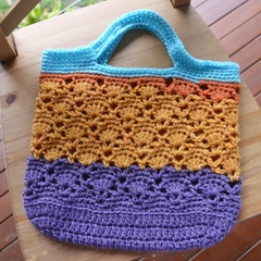 Crochet Tote Bag - Aqua, Orange & Purple