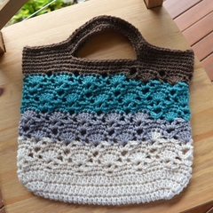 Crochet Tote Bag - Chocolate, Aqua, Grey & Cream