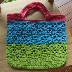 Crochet Tote Bag - Pink, Aqua & Green