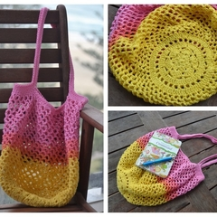 Crochet Mesh Market Bag - Pink, Orange & Yellow