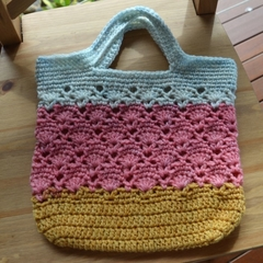 Crochet Tote Bag - Grey, Pink & Mustard
