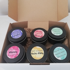 Fitness Inspired Soy Candle gift pack. 6 scented 100% soy wax travel tin candles