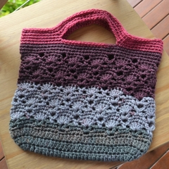 Crochet Tote Bag - Raspberry, Plum & Greys