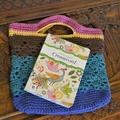 Crochet Tote Bag - Pink, Yellow, Chocolate, Aqua & Blue