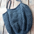 Crochet Mesh Market Bag - Black & Grey Ombré