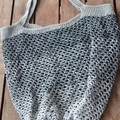 Crochet Mesh Market Bag - Black & Grey Ombré