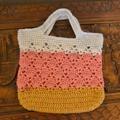 Crochet Tote Bag - Grey, Pink & Mustard