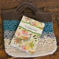 Crochet Tote Bag - Chocolate, Aqua, Grey & Cream