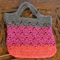 Crochet Tote Bag - Grey, Plum & Raspberry