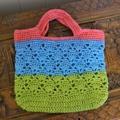 Crochet Tote Bag - Pink, Aqua & Green