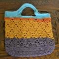 Crochet Tote Bag - Aqua, Orange & Purple
