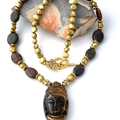 TIGER'S EYE BUDDHA Pendant on JASPER and Pearls, Protective ZEN Necklace.