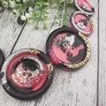 Pink Watermelon Sparkle Glitter  - Button Necklace - Button Earrings - Jewellery