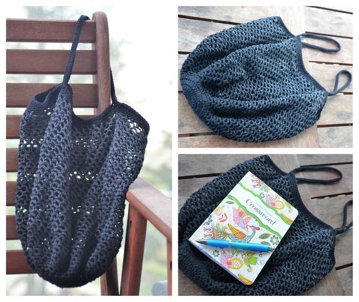 Crochet Mesh Market Bag Black Grey Ombré Sew Thea Madeitcomau