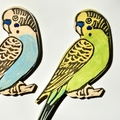 Wooden Budgie Fridge Magnet / hand painted and printed Budgerigar