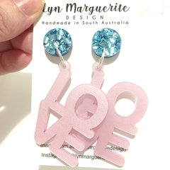 Blue Chunky Glitter & Pearlescent Pink LOVE Dangles