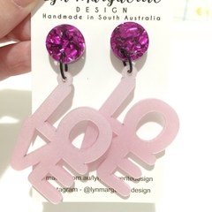 Purple Chunky Glitter & Pearlescent Pink LOVE Dangles